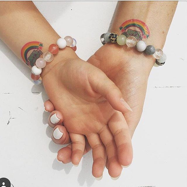 Mother & Daughter do #karmafeeling – probably THE BEST photo we've ever been tagged in. Thanks @lahackford for posting. #designer #fitspo #fitspiration #fitness #spirituality #yoga #yogainspiration #bracelet #daughter #mother #matchingoutfits #matchingtattoos #vegan #hippie #hippiestyle #love #jewellery